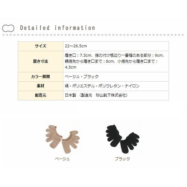 絹 冷え取り 保湿 靴下 5本指  五本指 パンプスイン ムレ対策 日本製 国産 / cocoonfit シルクフィンガーソックス パンスト用 メール便可 mochihada 02