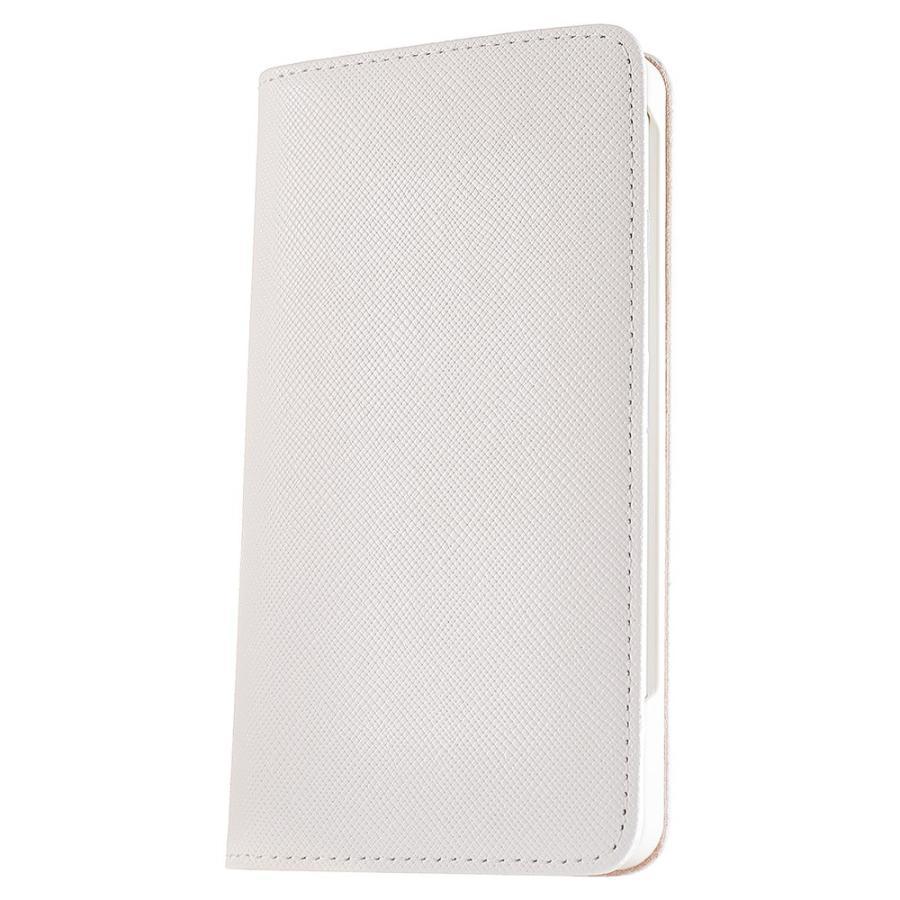 iPhone 7 ケース 本革 手帳型ケース ポーラスター / ホワイト modaMania モーダマニア 高級イタリアンレザー サフィアーノ バイカラー|modamania