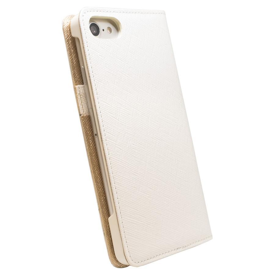 iPhone 7 ケース 本革 手帳型ケース ポーラスター / ホワイト modaMania モーダマニア 高級イタリアンレザー サフィアーノ バイカラー|modamania|02