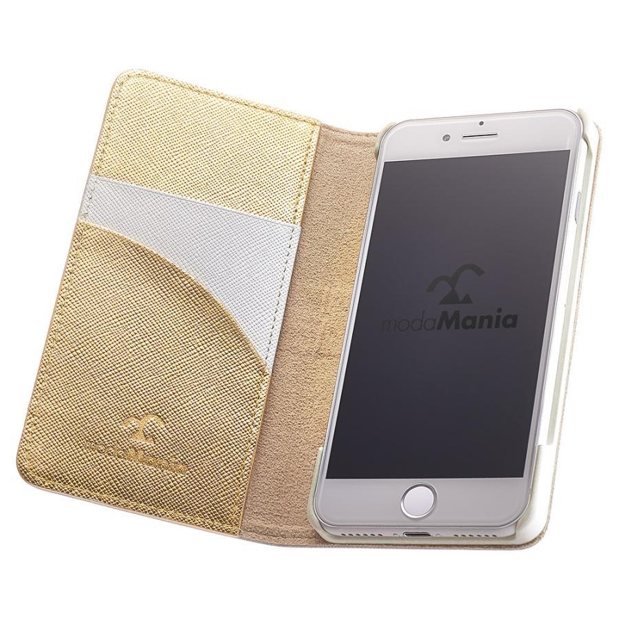 iPhone 7 ケース 本革 手帳型ケース ポーラスター / ホワイト modaMania モーダマニア 高級イタリアンレザー サフィアーノ バイカラー|modamania|03