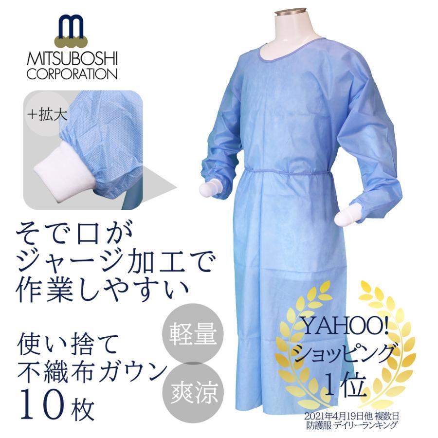不織布アイソレーションガウン 10枚 完売 フリーサイズ 青色 おしゃれ 防護服 使い捨て 袖口ジャージ