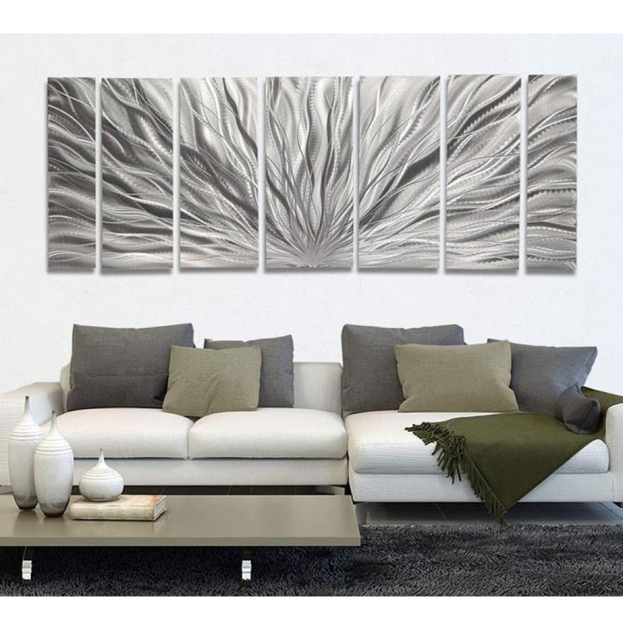 Silver Plumage XL インテリアアート(メタル抽象アートモダン彫刻インテリアオフィスデコアートパネルインテリアパネル北欧カフェ風 モダーン)