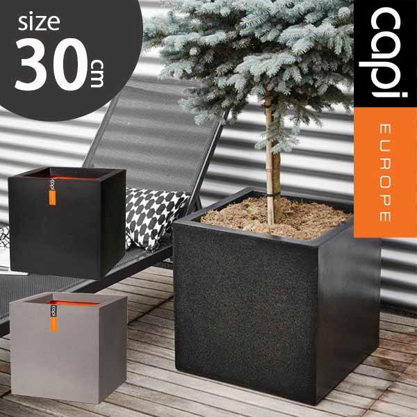 先行予約11月下旬入荷予定 大型植木鉢 年中無休 Capi キューブポット 30cm Planter square Smooth 大型プランター 鉢 カピ 超安い 送料無料 グレー ブラック 角型