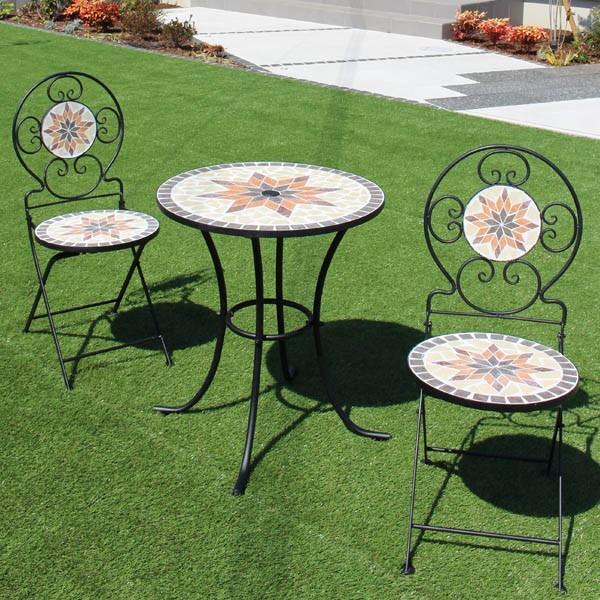 モザイクタイルテーブル 3点セット φ60cm ブラウン / 大型宅配便 / ガーデンファニチャーセット ガーデンテーブル