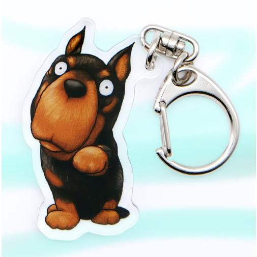 犬のドーベルマンさんのキーリング おしゃれ キャラクター アニマル キーホルダー|moevi