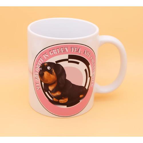 犬のかわいいミニチュアダックスフンドさんのイラスト01のマグカップ コーヒーカップ ティーカップ moevi