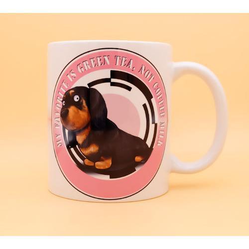 犬のかわいいミニチュアダックスフンドさんのイラスト01のマグカップ コーヒーカップ ティーカップ moevi 02