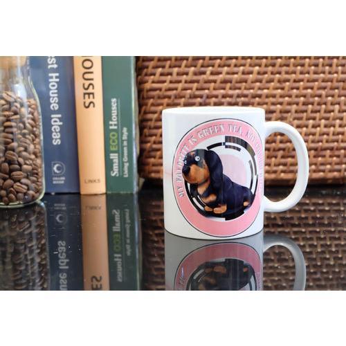 犬のかわいいミニチュアダックスフンドさんのイラスト01のマグカップ コーヒーカップ ティーカップ moevi 05