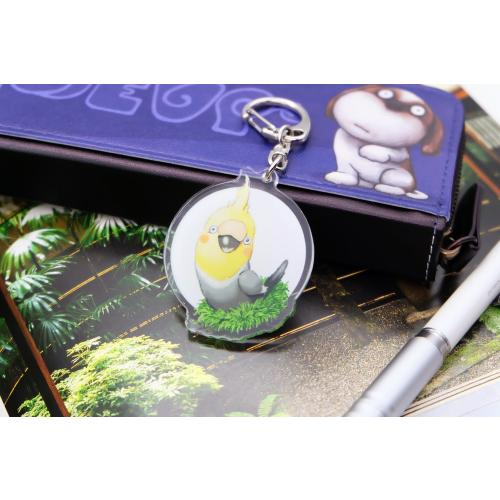 鳥のオカメインコさんのキーリング おしゃれ キャラクター アニマル キーホルダー 001 moevi 02