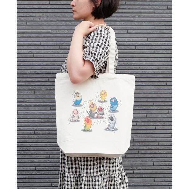 鳥さんのイラスト06のバッグ トートバッグ レディース ショルダーバッグ 鞄 肩掛け トート ネコポス可 moevi 03