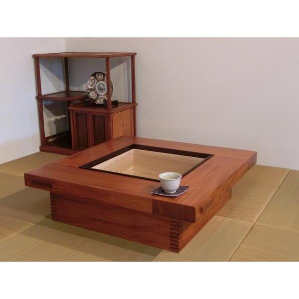 手造り 一点物 ケヤキ 手造り 一点物 ケヤキ 移動いろり(置き囲炉裏) 77cm角
