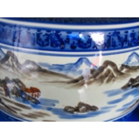 山水火鉢15号  大、キンカ:C13·1,15号 480xH320山と川がある自然の風景を描いてます。デザインの美しい座敷大型火鉢。国産クヌギ400gx5袋付