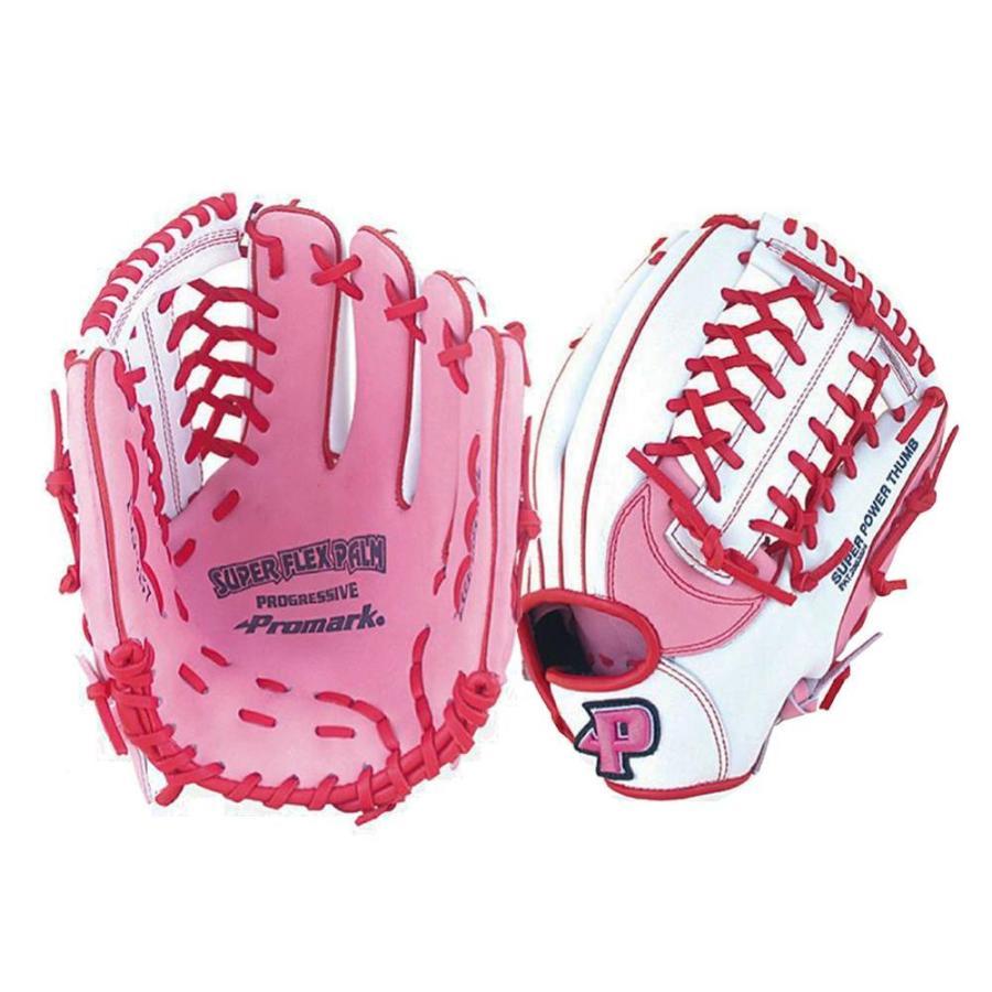送料無料Promark プロマーク グラブ グローブ ソフトボール一般 レディースオールラウンド用 Mサイズ ピンク×ホワイト PGS-3157