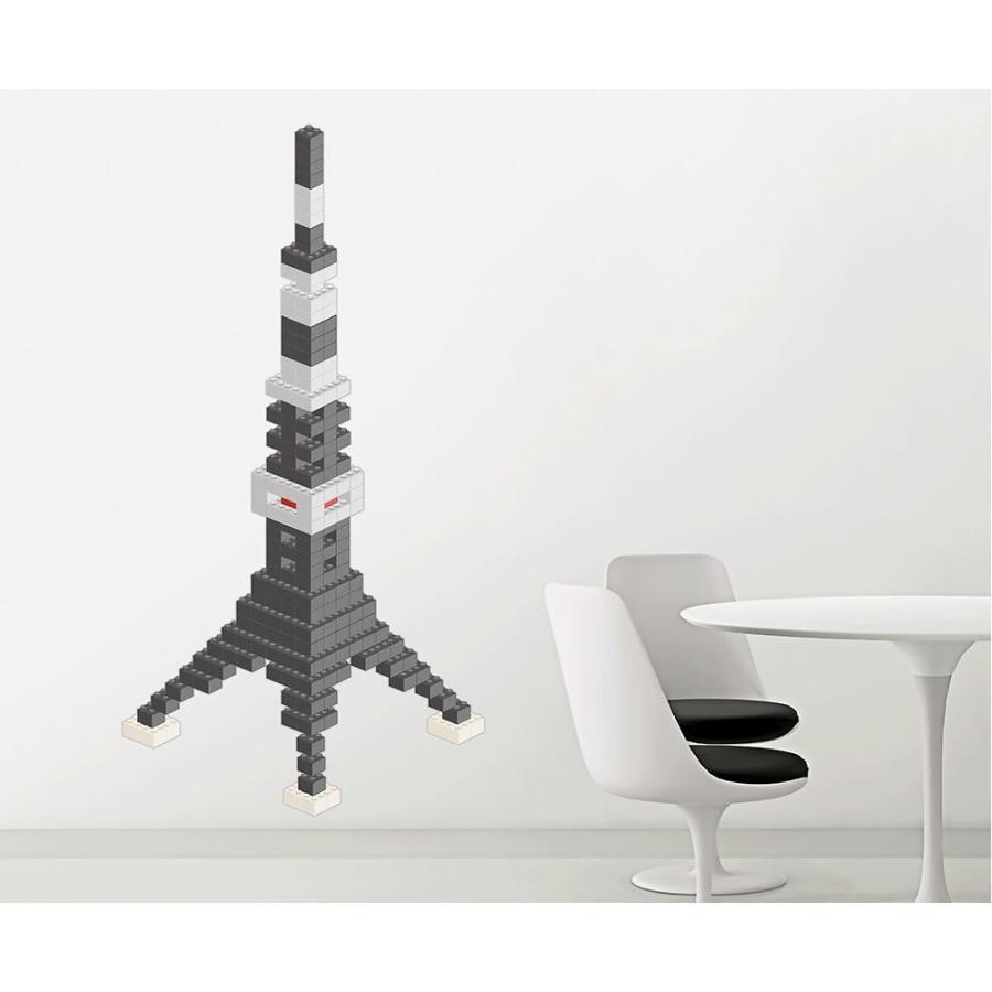送料無料東京ステッカー ウォールステッカー 転写式 ブロック・タワー ダークグレー Lサイズ TS-0020-BL