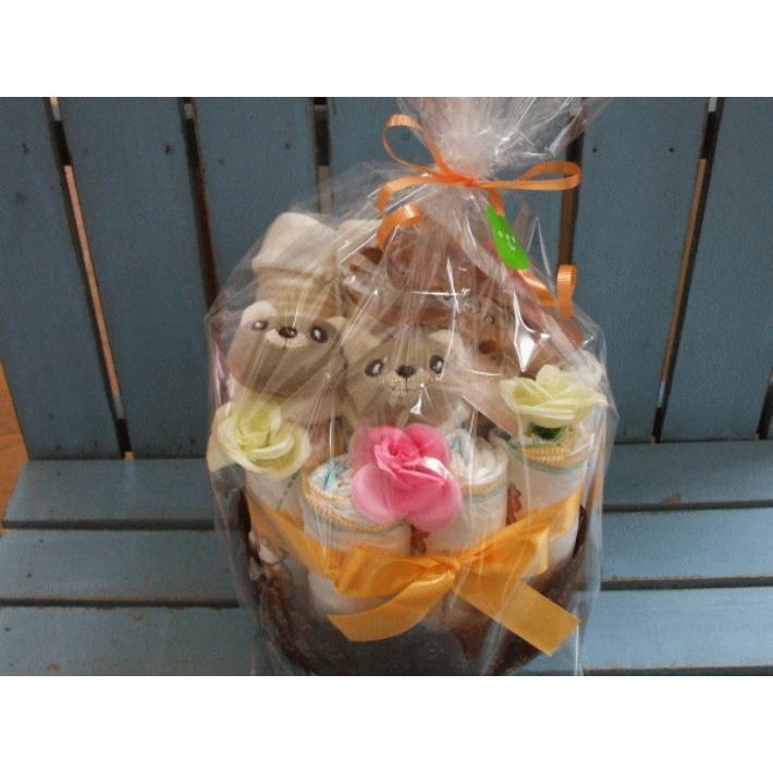 出産祝い おむつケーキ オムツケーキ 男の子 女の子 兼用 プチプライス プチくま|monkeypanda333|02