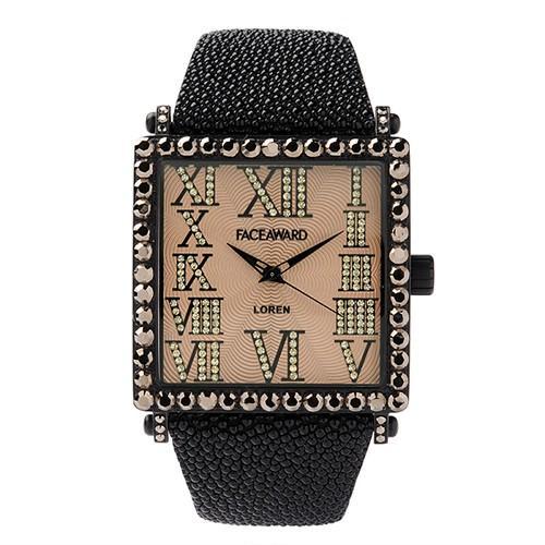 【現金特価】 腕時計 ビックフェイス スクエア スワロフスキー ジルコニア レディース メンズ 本革 日本製 FACEAWARD LOREN FA012A MBK/GD/RAYBK, あさひやまストアー f62fc8f5