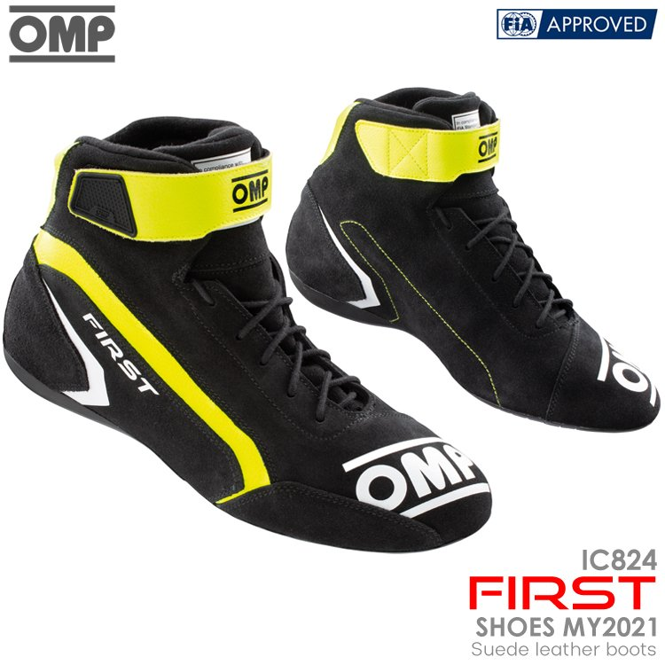 2021NEWモデル OMP FIRST SHOES アンスラサイト×イエロー(182) レーシングシューズ FIA公認8856-2018 ANTHRACITE×YELLOW (IC/824182) - neetcounseling.co.in