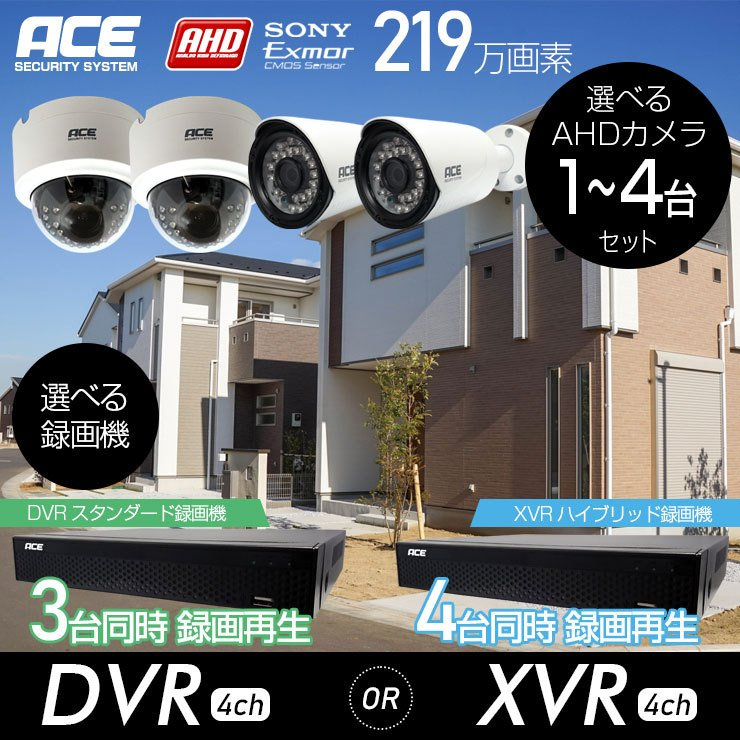 防犯カメラ 屋内 屋外 録画機+カメラ1〜4台セット 屋内ドーム リレーアタック対策 超高画質 AHD219万画素 モーション検知 防水 暗視 高解像度|monosupply