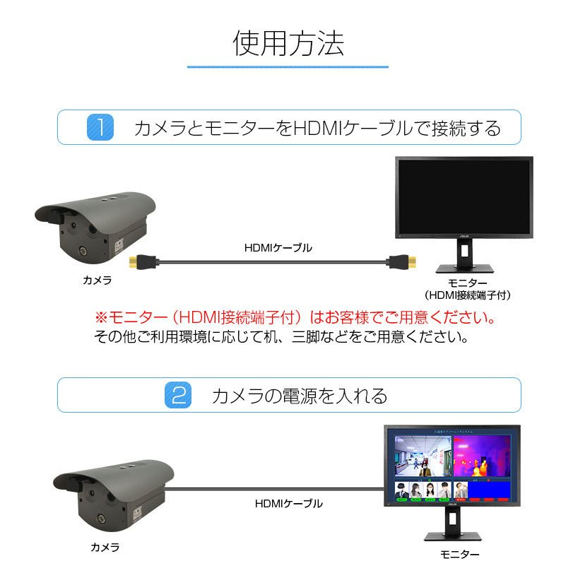 サーマルカメラ 顔認識 非接触 熱 検知 体表温度測定 AI搭載 温度スクリーニングカメラ 感染予防 対策 カメラ 警報 サーモグラフィー monosupply 09