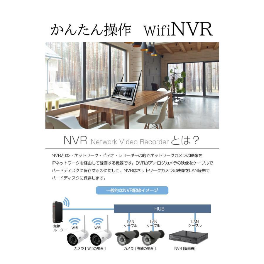 防犯カメラ ワイヤレス 屋外 屋内 家庭用 業務用 無線 ワイヤレス 高画質 300万画素 NVR+カメラ1〜4台セット モニター付あり H.265+ WiFi|monosupply|12