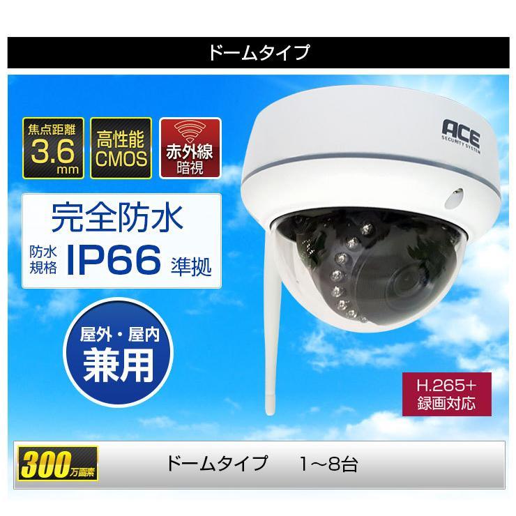 防犯カメラ ワイヤレス 屋外 屋内 家庭用 業務用 無線 ワイヤレス 高画質 300万画素 NVR+カメラ1〜4台セット モニター付あり H.265+ WiFi|monosupply|18