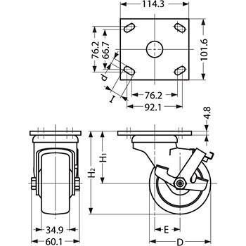 重量用キャスター 70シリーズ スガツネ(LAMP) SUG-31-74-TU 200-133-454