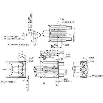 ガイド付シリンダ すべり軸受 STG-M-25 CKD STG-M-25-100-T2V-D
