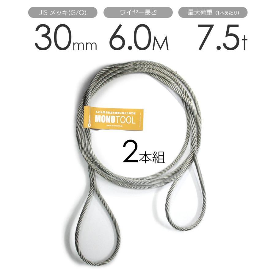 編み込みワイヤー JISメッキ(G/O) 30mm(10分)x6m 玉掛けワイヤーロープ 2本組 フレミッシュ 玉掛ワイヤー