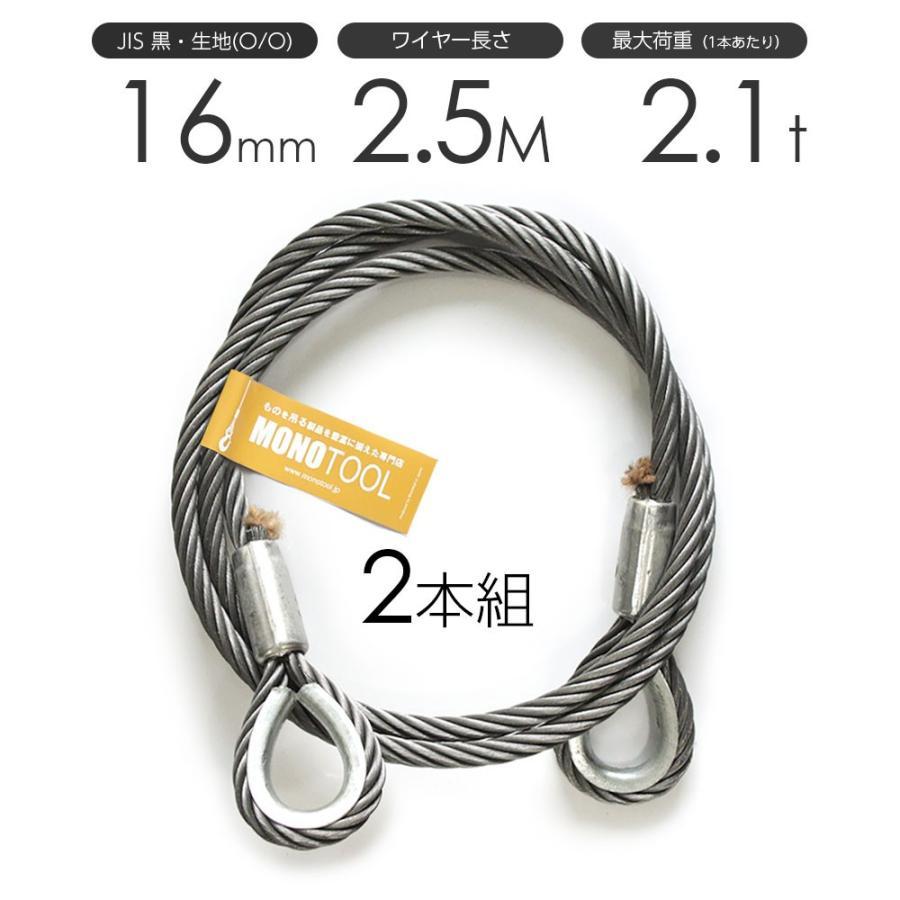 玉掛けワイヤーロープ 2本組 両シンブル 黒(O/O) 16mmx2.5m JISワイヤーロープ