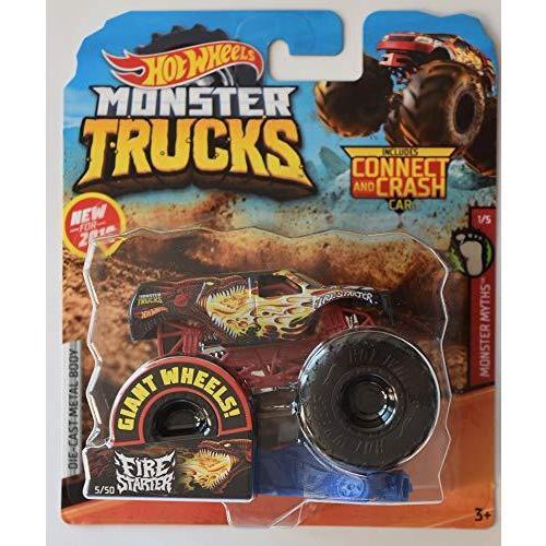 モンスタートラック ホットホイール 1:64スケール モンスター神話 1/5 ファイヤースターター 5/50 コネクト&クラッシュカー付き 並行輸入品|mons