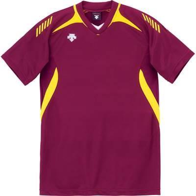DESCENTE(デサント) 男女兼用 ジュニア対応 バレーボール 半袖ゲームシャツ DSS-4922 エンジ×イエロー M