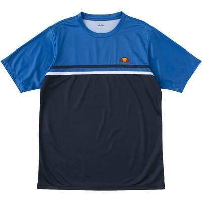(エレッセ)ellesse テニスウェア 半袖チームクルー [ユニセックス] ETS0811 HN ヘリテージブルー×ネイビー L