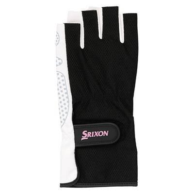 SRIXON(スリクソン) テニス レディース用 シリコンプリント グローブ ハーフタイプ (両手セット) SGG2560 ブラック Mサイズ|montaukonline