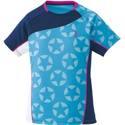 ゴーセン(GOSEN) レディース バドミントン ソフトテニス 星柄ゲームシャツ ターコイズブルー T1711 18(ターコイズブルー) M