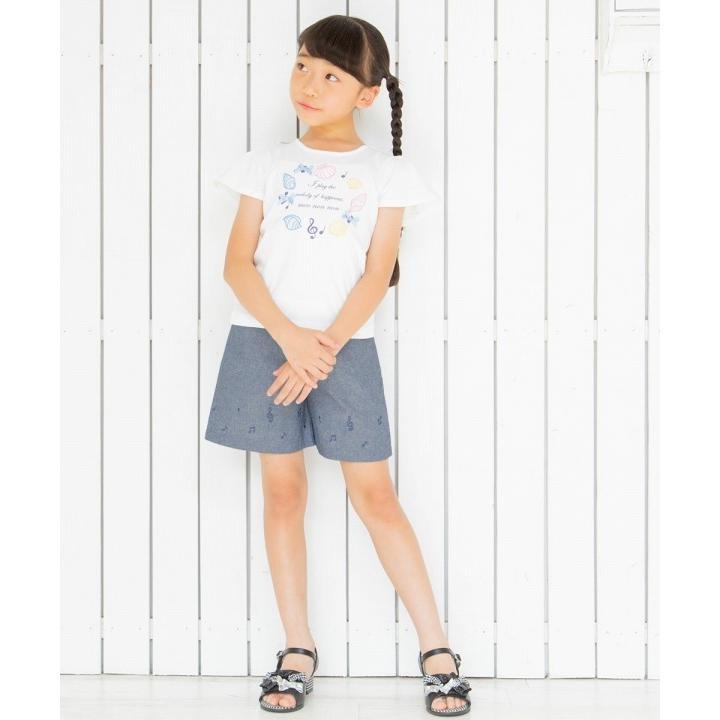 子供服 女の子 膝丈 普段着 通学着 綿100%音符プリントウエストゴムダンガリーキュロットパンツ ネイビー むーのんのん moononnon moononnon 11