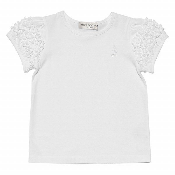 子供服 女の子 Tシャツ 半袖 普段着 通学着 音符刺繍フリルパフ袖シンプルデザイン オフホワイト 100cm 110cm 120cm 130cm 140cm むーのんのん moononnon|moononnon|02