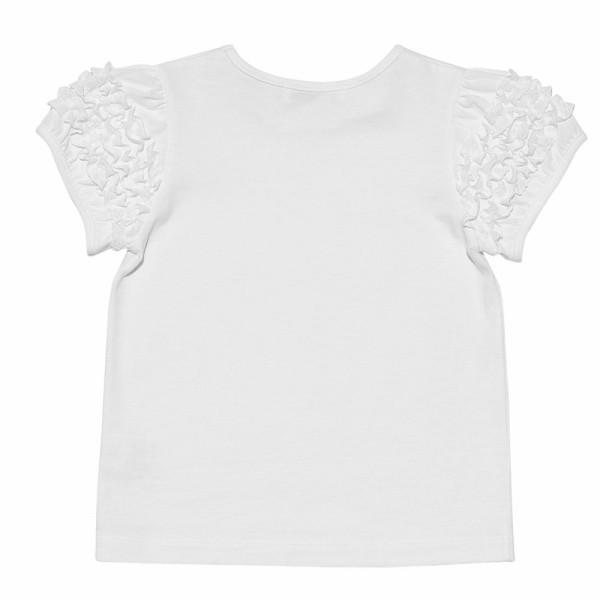 子供服 女の子 Tシャツ 半袖 普段着 通学着 音符刺繍フリルパフ袖シンプルデザイン オフホワイト 100cm 110cm 120cm 130cm 140cm むーのんのん moononnon|moononnon|03