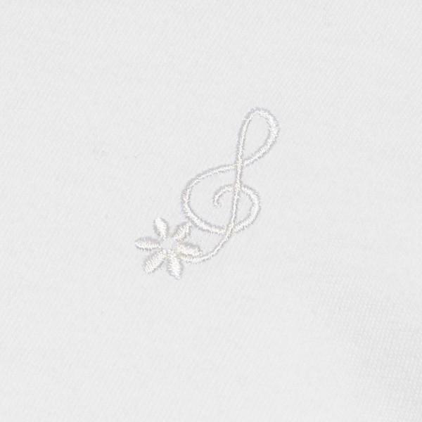 子供服 女の子 Tシャツ 半袖 普段着 通学着 音符刺繍フリルパフ袖シンプルデザイン オフホワイト 100cm 110cm 120cm 130cm 140cm むーのんのん moononnon|moononnon|04