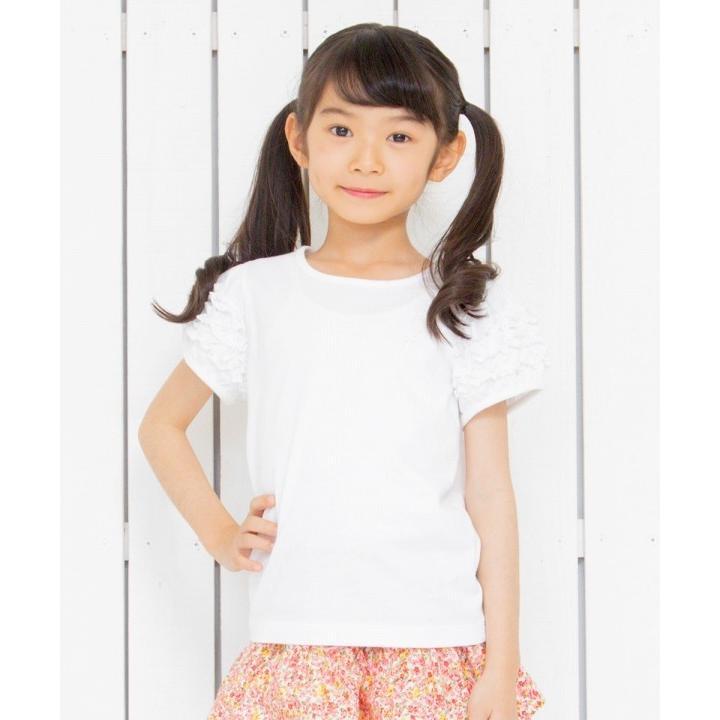 子供服 女の子 Tシャツ 半袖 普段着 通学着 音符刺繍フリルパフ袖シンプルデザイン オフホワイト 100cm 110cm 120cm 130cm 140cm むーのんのん moononnon|moononnon|06