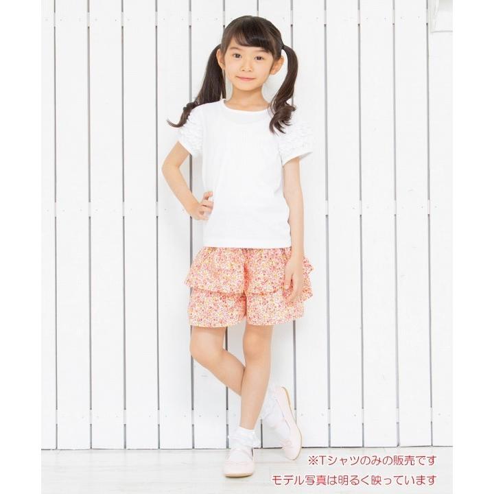 子供服 女の子 Tシャツ 半袖 普段着 通学着 音符刺繍フリルパフ袖シンプルデザイン オフホワイト 100cm 110cm 120cm 130cm 140cm むーのんのん moononnon|moononnon|07