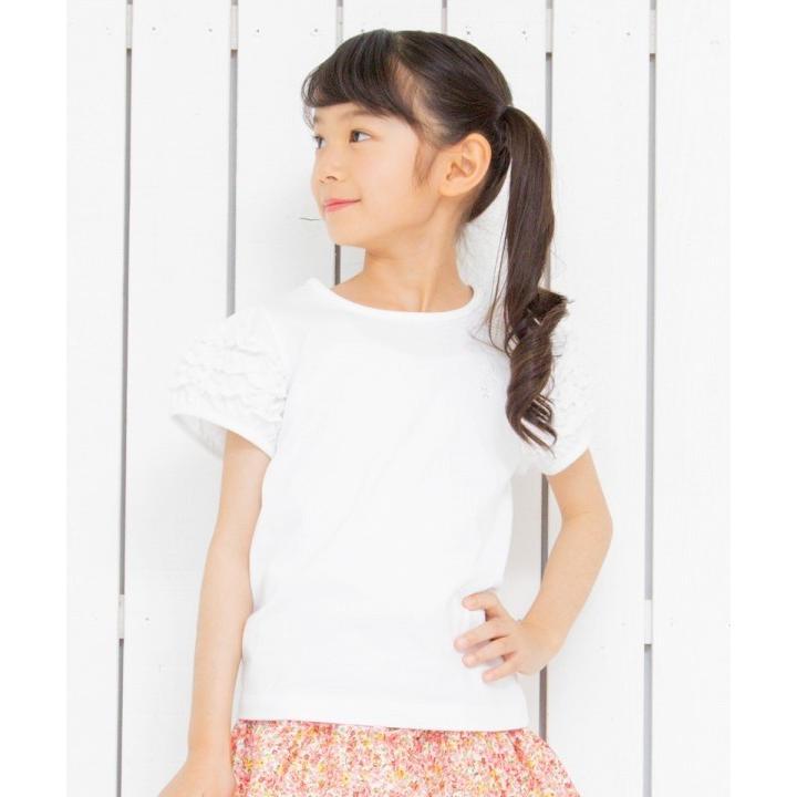 子供服 女の子 Tシャツ 半袖 普段着 通学着 音符刺繍フリルパフ袖シンプルデザイン オフホワイト 100cm 110cm 120cm 130cm 140cm むーのんのん moononnon|moononnon|08