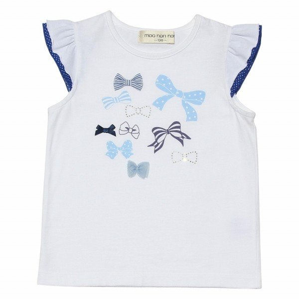 子供服 女の子 Tシャツ 半袖 普段着 通学着 綿100%リボンプリントドット柄フリルつき ブルー むーのんのん moononnon moononnon 02