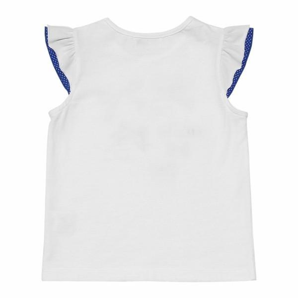 子供服 女の子 Tシャツ 半袖 普段着 通学着 綿100%リボンプリントドット柄フリルつき ブルー むーのんのん moononnon moononnon 03