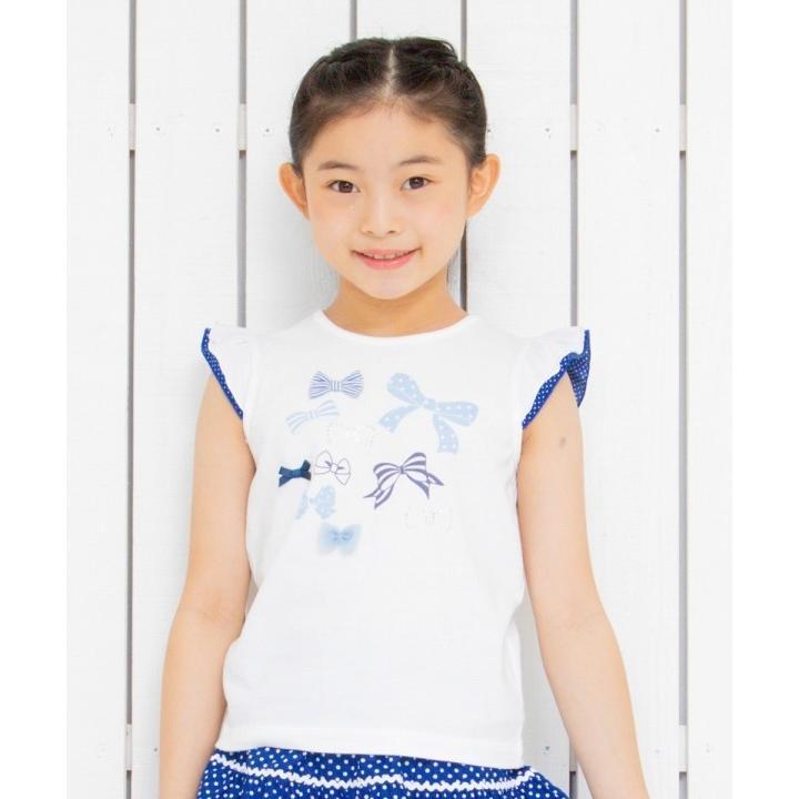 子供服 女の子 Tシャツ 半袖 普段着 通学着 綿100%リボンプリントドット柄フリルつき ブルー むーのんのん moononnon moononnon 06