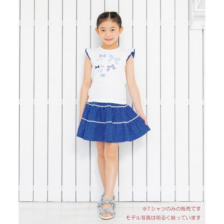 子供服 女の子 Tシャツ 半袖 普段着 通学着 綿100%リボンプリントドット柄フリルつき ブルー むーのんのん moononnon moononnon 07