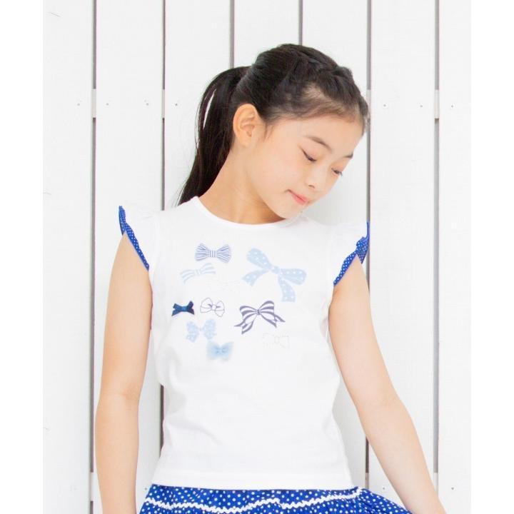 子供服 女の子 Tシャツ 半袖 普段着 通学着 綿100%リボンプリントドット柄フリルつき ブルー むーのんのん moononnon moononnon 08