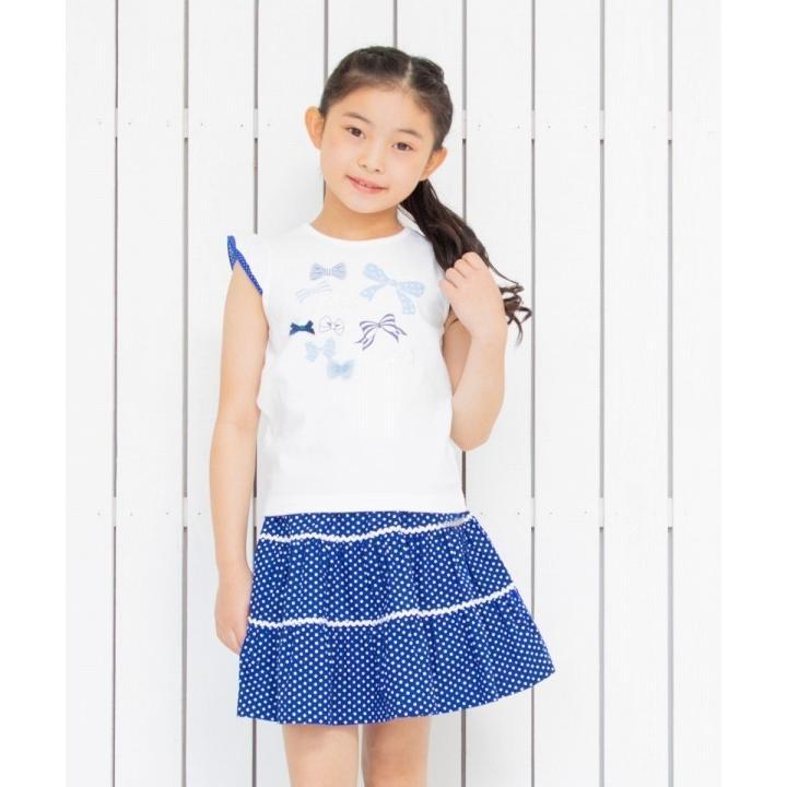 子供服 女の子 Tシャツ 半袖 普段着 通学着 綿100%リボンプリントドット柄フリルつき ブルー むーのんのん moononnon moononnon 09