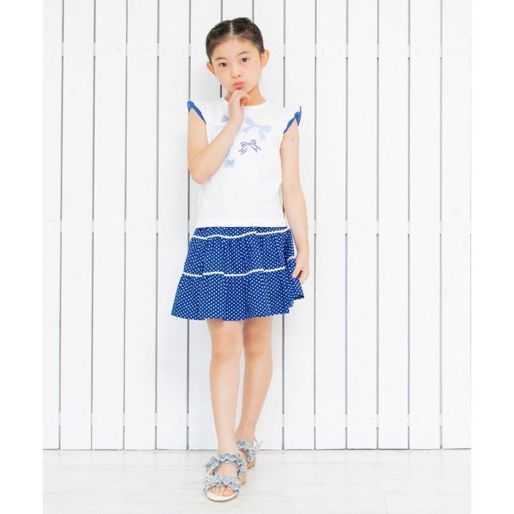 子供服 女の子 Tシャツ 半袖 普段着 通学着 綿100%リボンプリントドット柄フリルつき ブルー むーのんのん moononnon moononnon 10