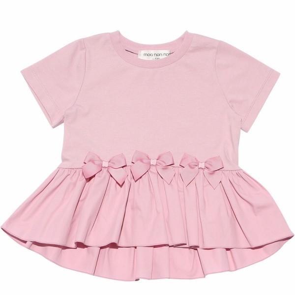 子供服 女の子 Tシャツ 半袖 普段着 通学着 綿100%リボンつき異素材ギャザー切り替えAライン ピンク 100cm 110cm 120cm 130cm むーのんのん moononnon|moononnon|02