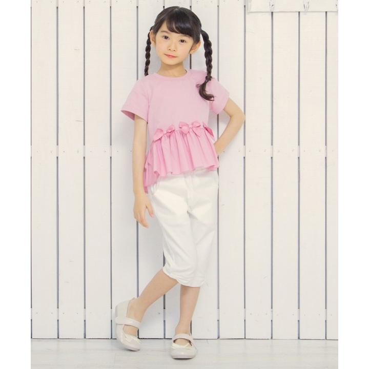 子供服 女の子 Tシャツ 半袖 普段着 通学着 綿100%リボンつき異素材ギャザー切り替えAライン ピンク 100cm 110cm 120cm 130cm むーのんのん moononnon|moononnon|11